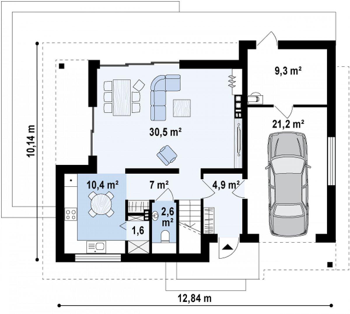 Первый этаж 57,1(87,6м²) дома Z219