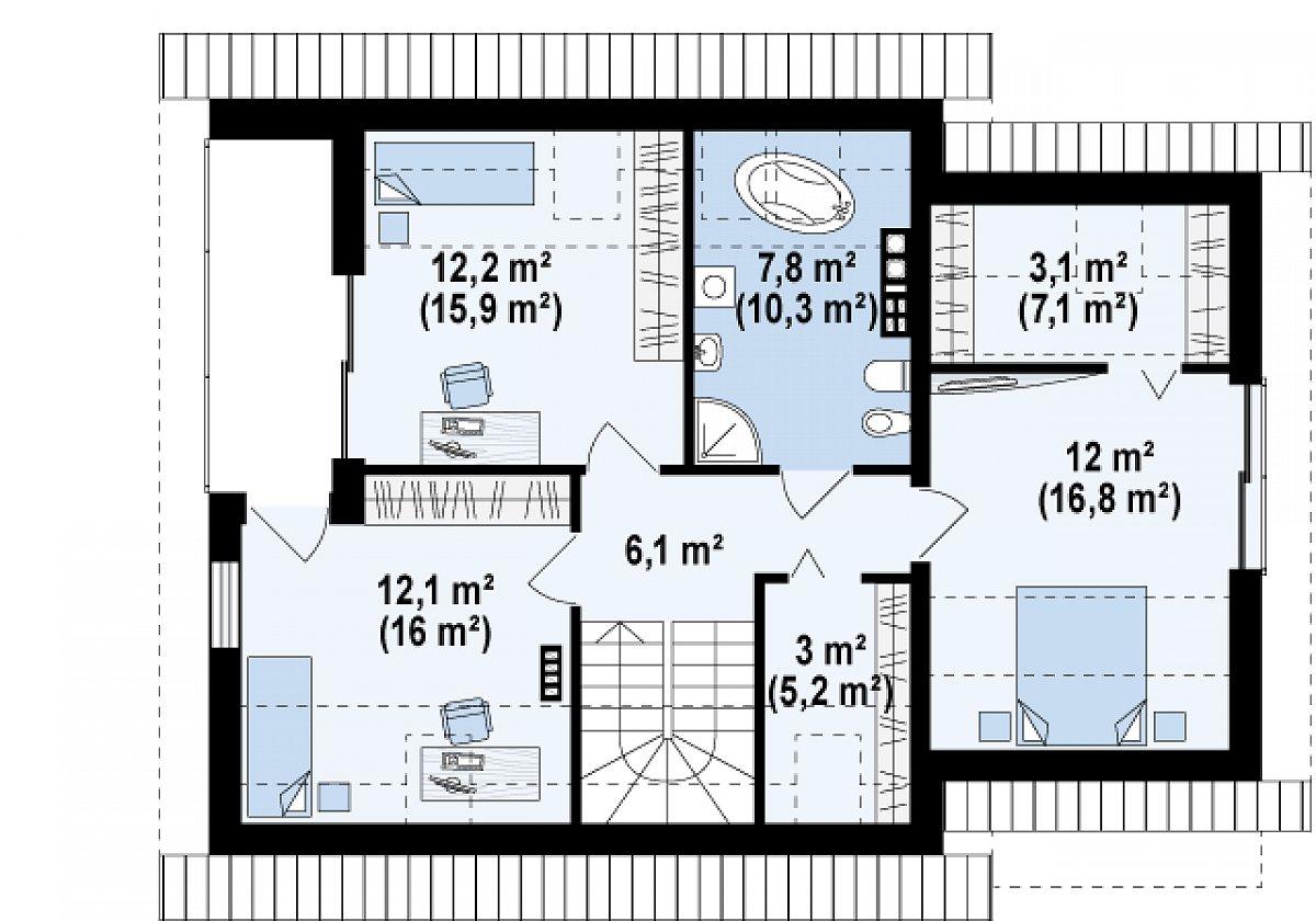 Второй этаж 56,4(77,5м²) дома Z219