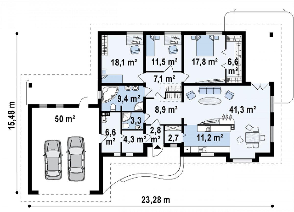 Первый этаж 153,4(203,4м²) дома Z21