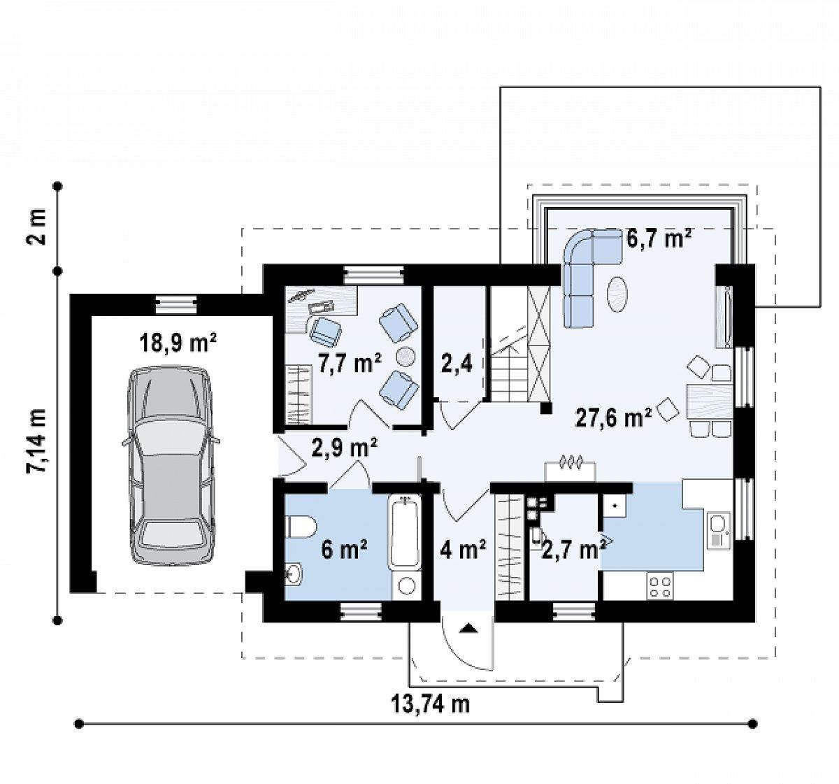 Первый этаж 59,5(78,4м²) дома Z220