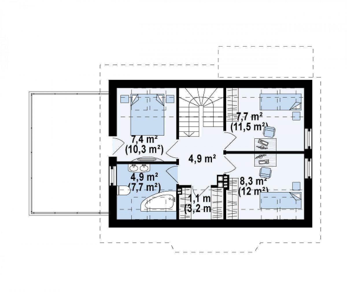 Второй этаж 34,3(49,6м²) дома Z220