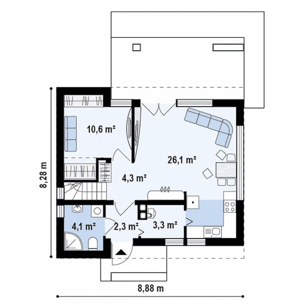 Первый этаж 50,8 м² дома Z221
