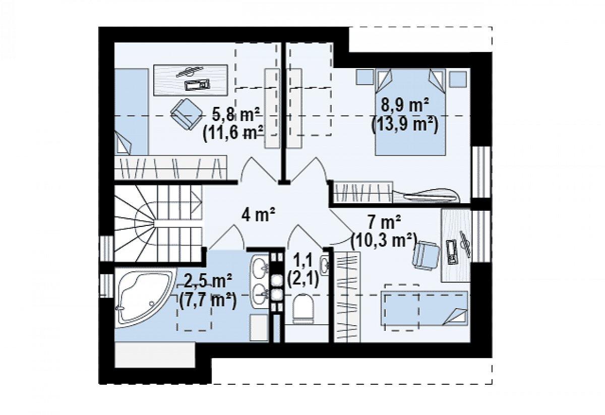Второй этаж 29,3(49,8м²) дома Z221