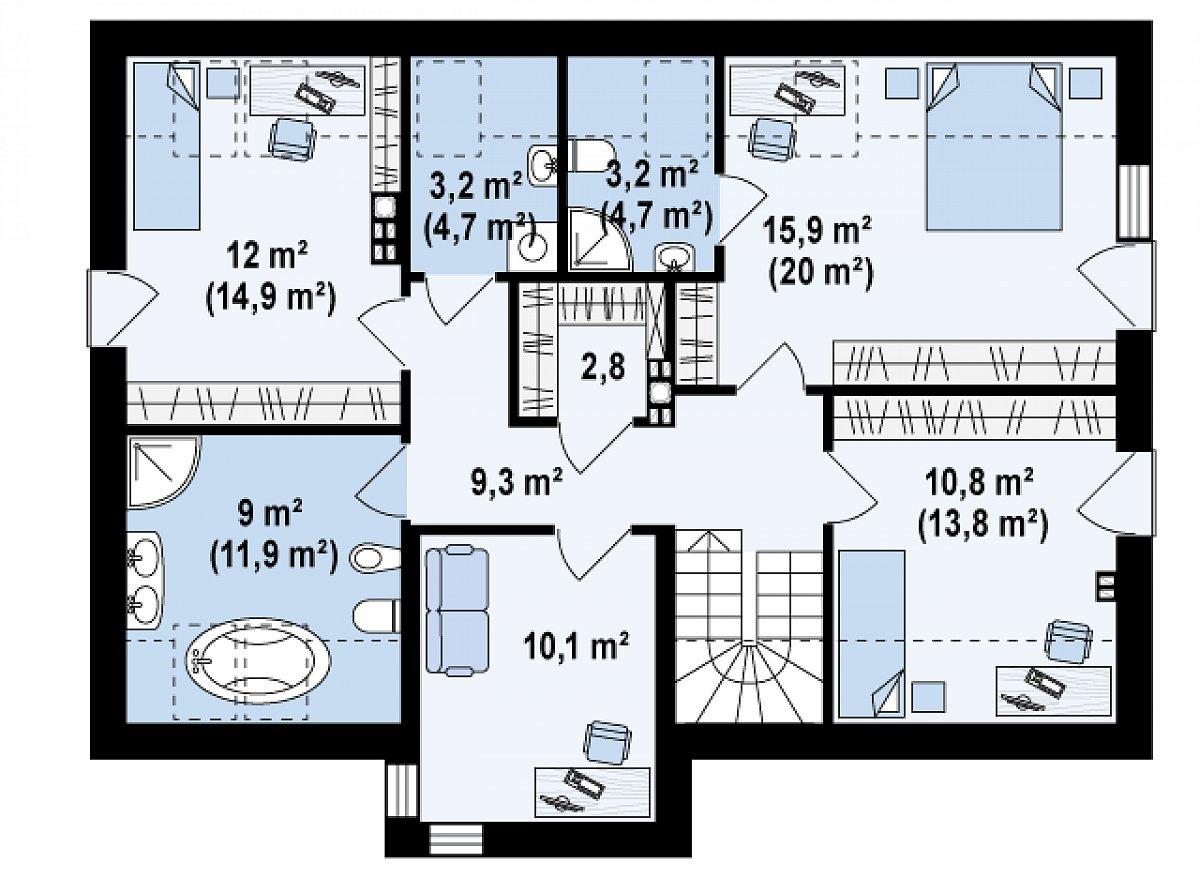 Второй этаж 76,3(92,2м²) дома Z222
