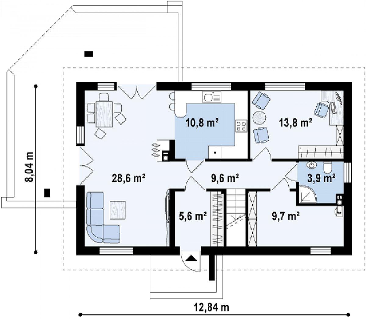 Первый этаж 81,9 м² дома Z223