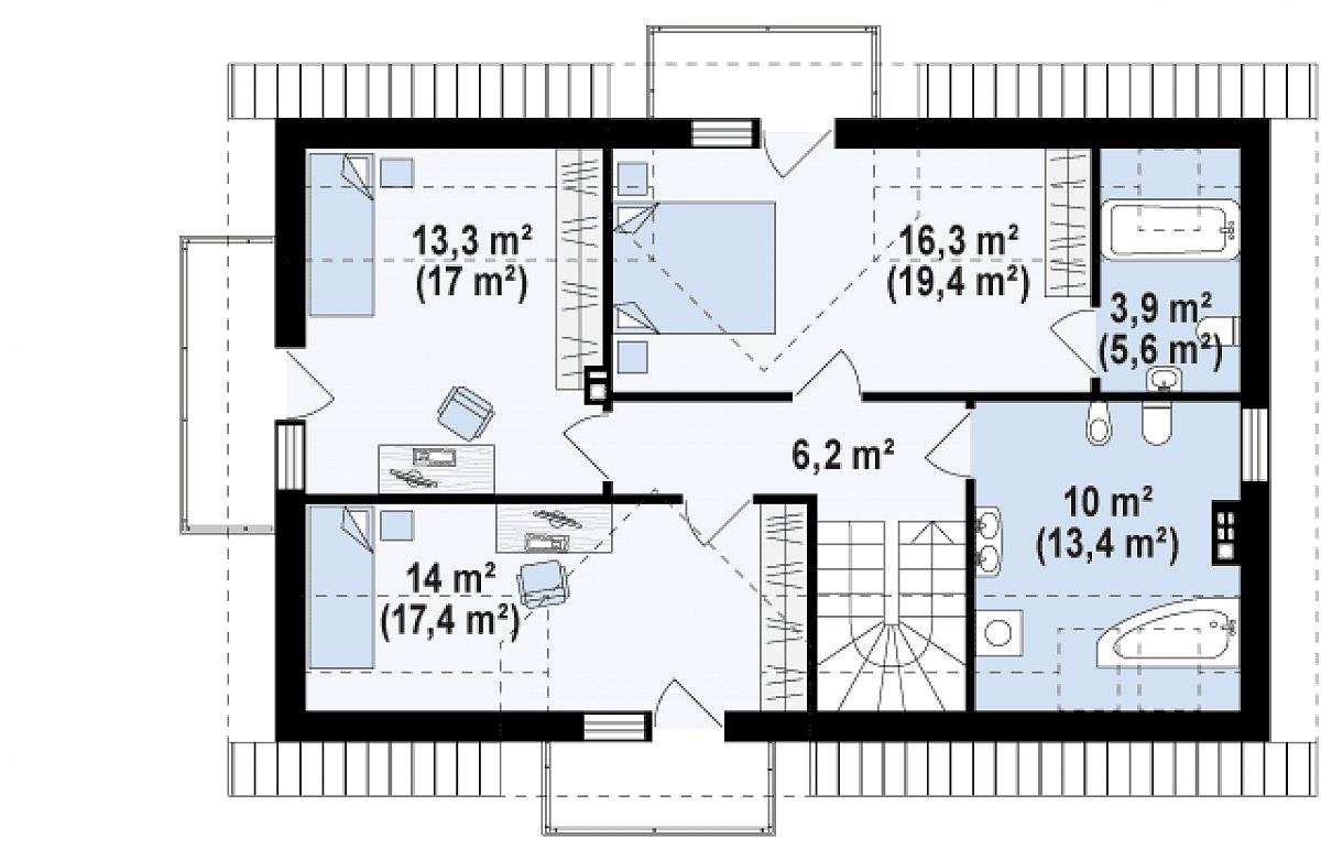 Второй этаж 63,6(79,0м²) дома Z223