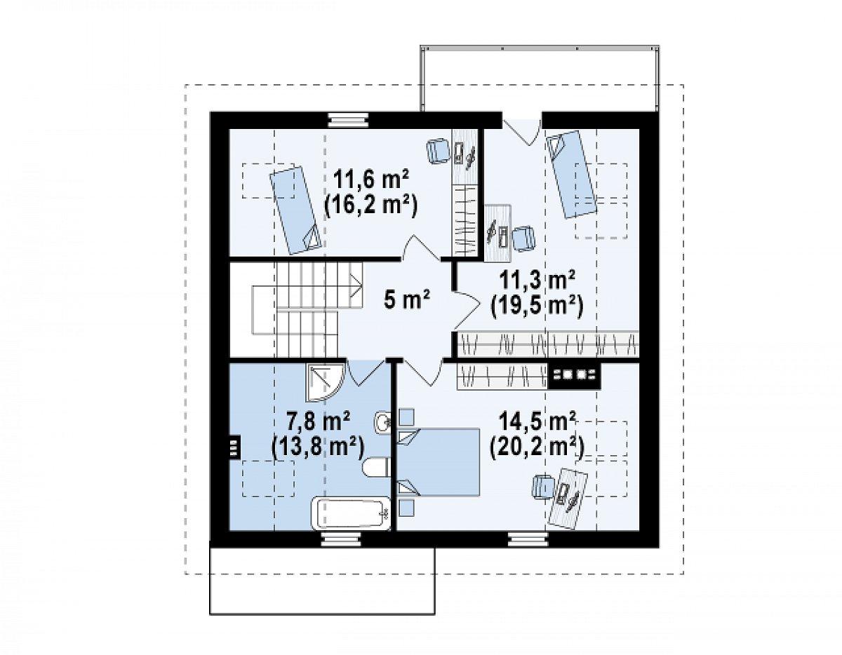 Второй этаж 50,2(74,6м²) дома Z224