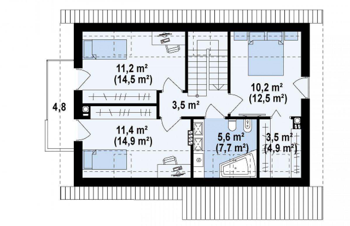Второй этаж 45,4(58,0м²) дома Z225 k