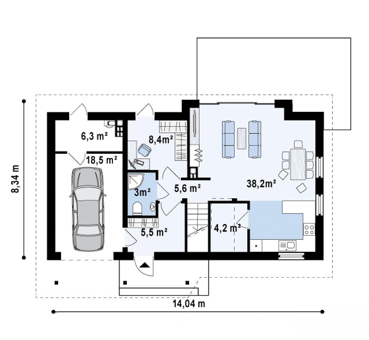 Первый этаж 64,9(89,7м²) дома Z226 +