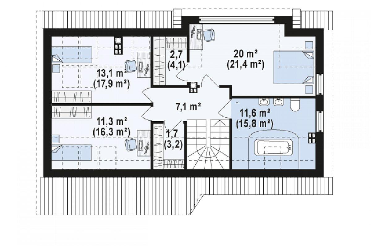 Второй этаж 67,5(85,6м²) дома Z226 +