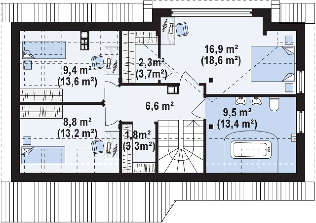 Второй этаж 55,2(72,3м²) дома Z226