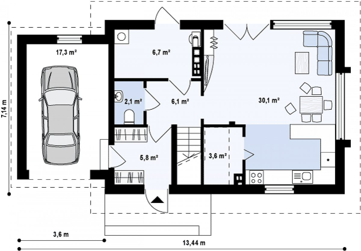 Первый этаж 54,6(71,9м²) дома Z227