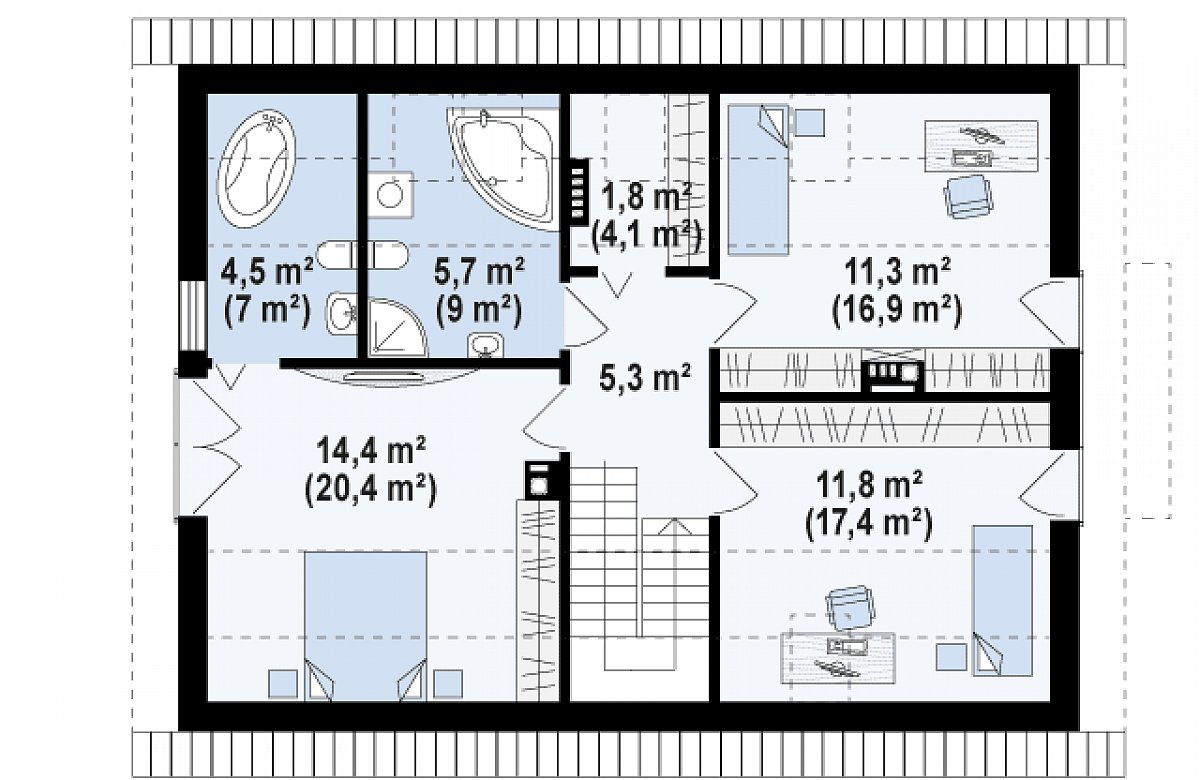 Второй этаж 54,9(81,6м²) дома Z228