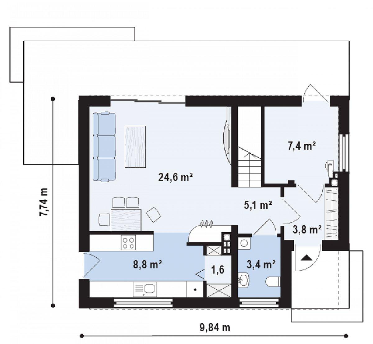 Первый этаж 54,8 м² дома Z229
