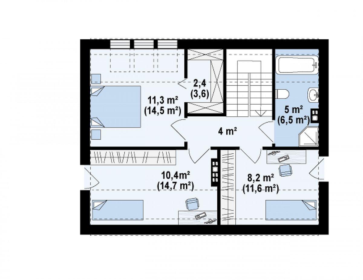 Второй этаж 41,3(54,9м²) дома Z229
