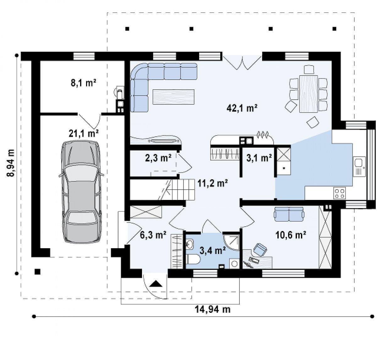 Первый этаж 79,2(108,4м²) дома Z231