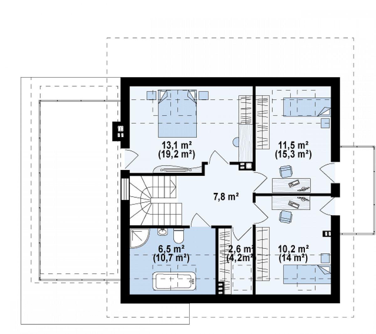 Второй этаж 51,6(71,2м²) дома Z231