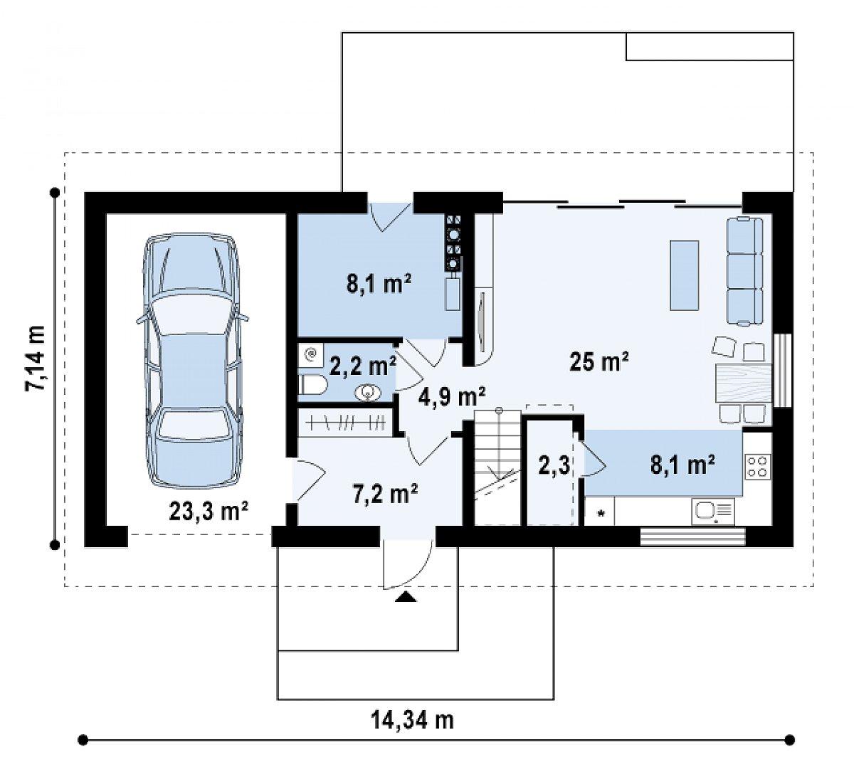 Первый этаж 58,0(81,2м²) дома Z232