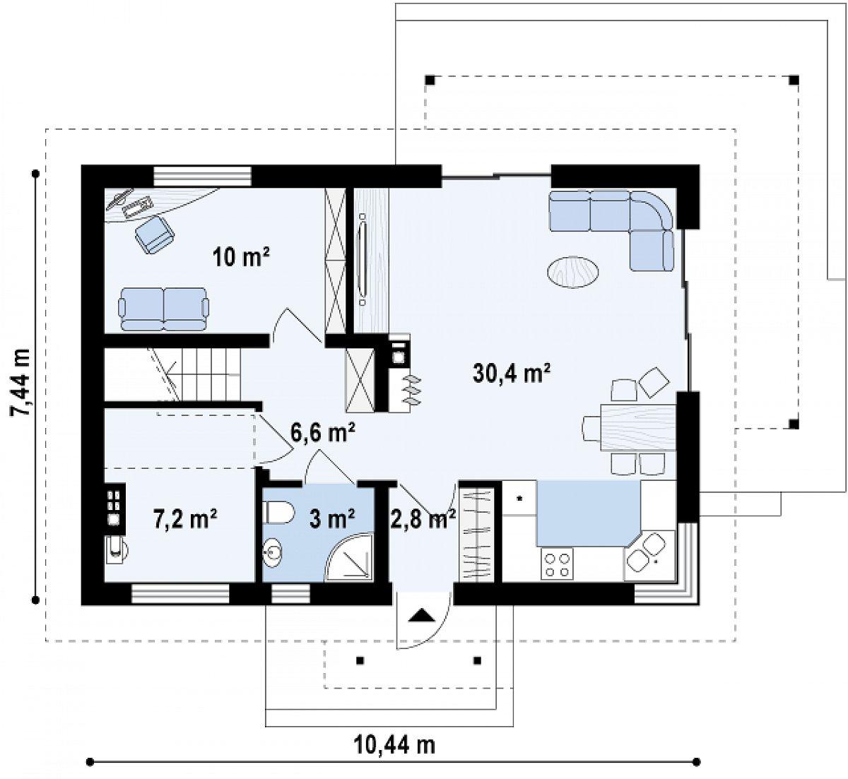 Первый этаж 60,2 м² дома Z233