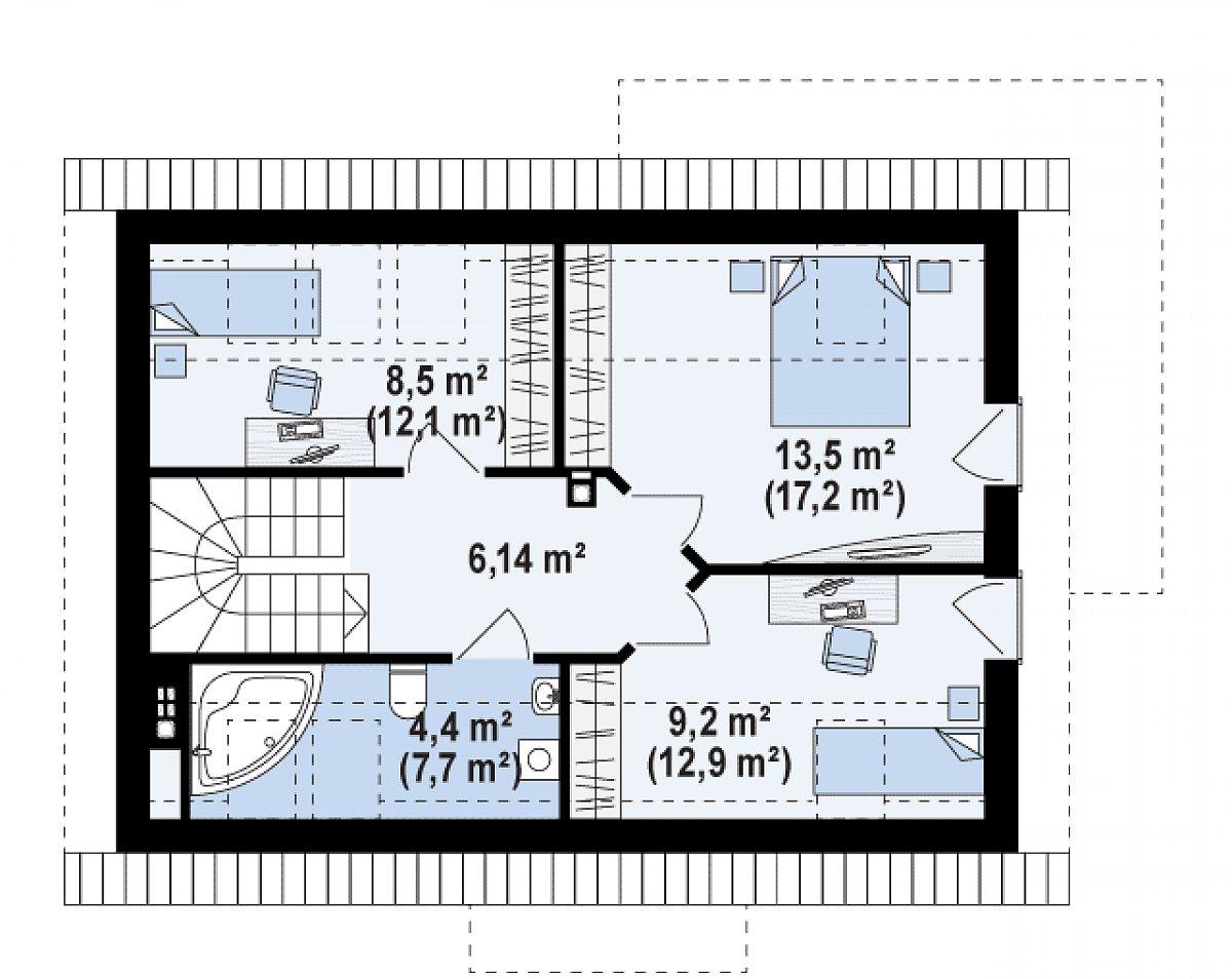Второй этаж 41,4(55,7м²) дома Z233