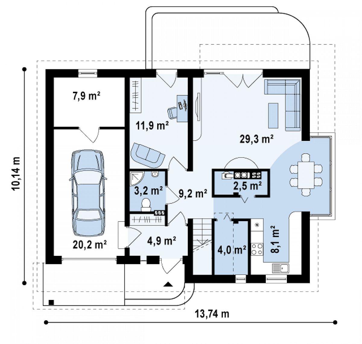 Первый этаж 73,1(101,2м²) дома Z234