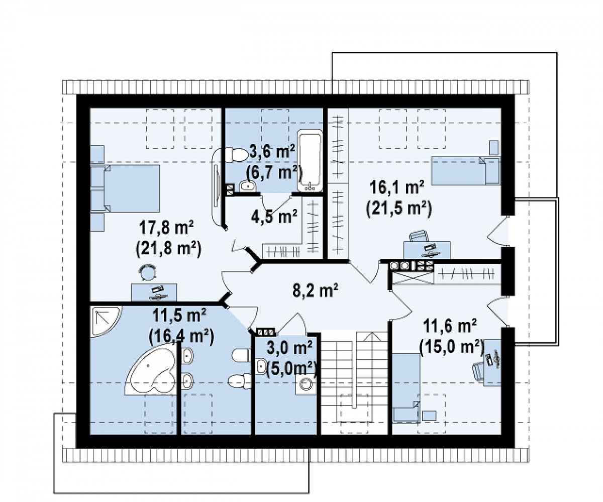 Второй этаж 76,4(99,2м²) дома Z234