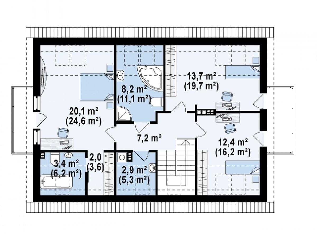 Второй этаж 69,9(93,9м²) дома Z235