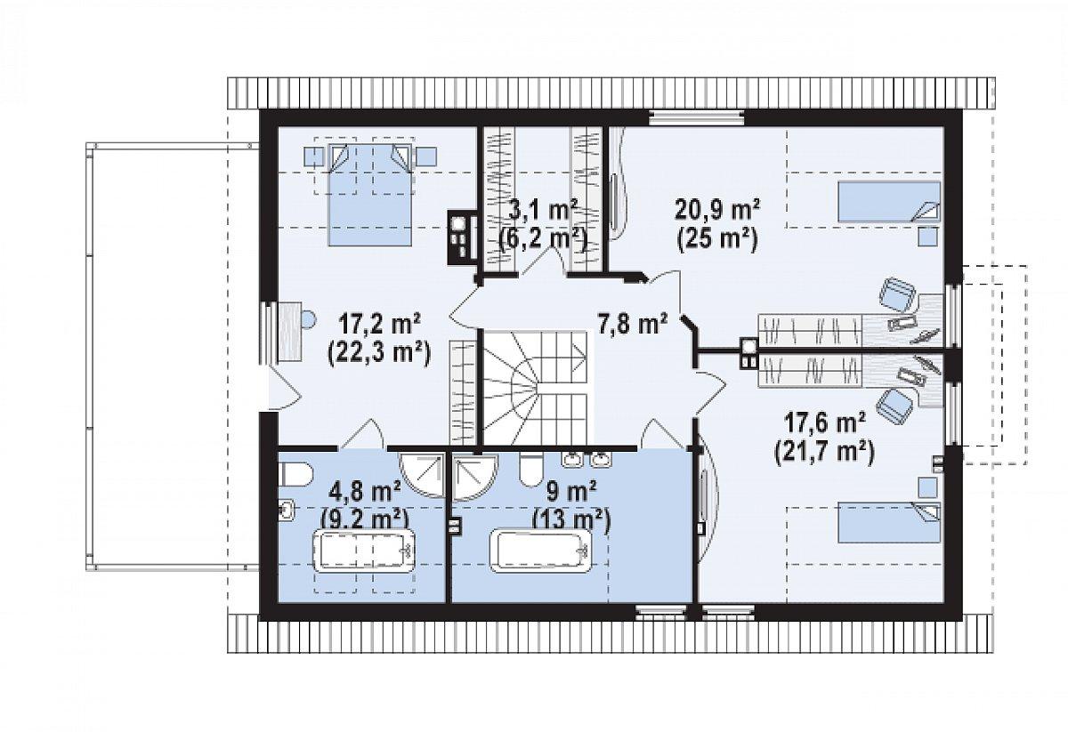 Второй этаж 78,8(104,4м²) дома Z236 GL2