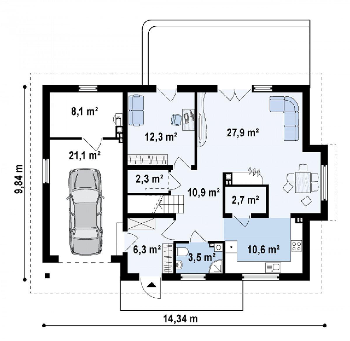 Первый этаж 76,6(105,8м²) дома Z236