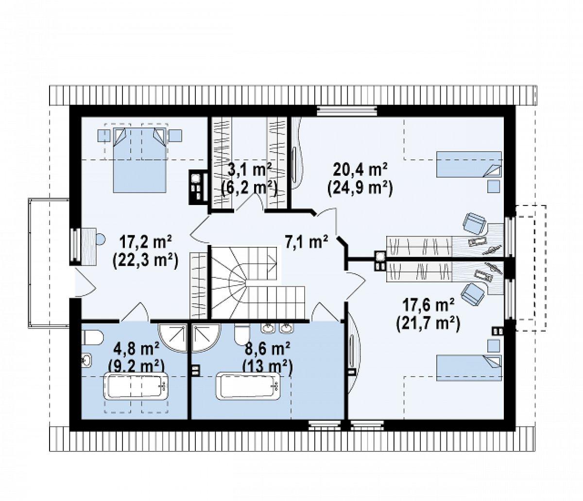 Второй этаж 80,2(105,2м²) дома Z236