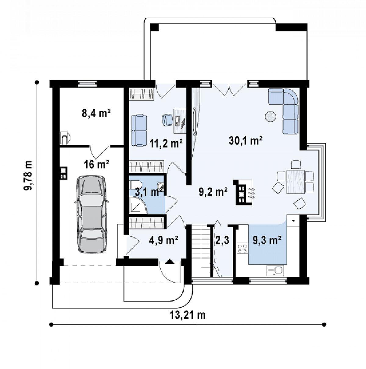 Первый этаж 70,2(94,6м²) дома Z237