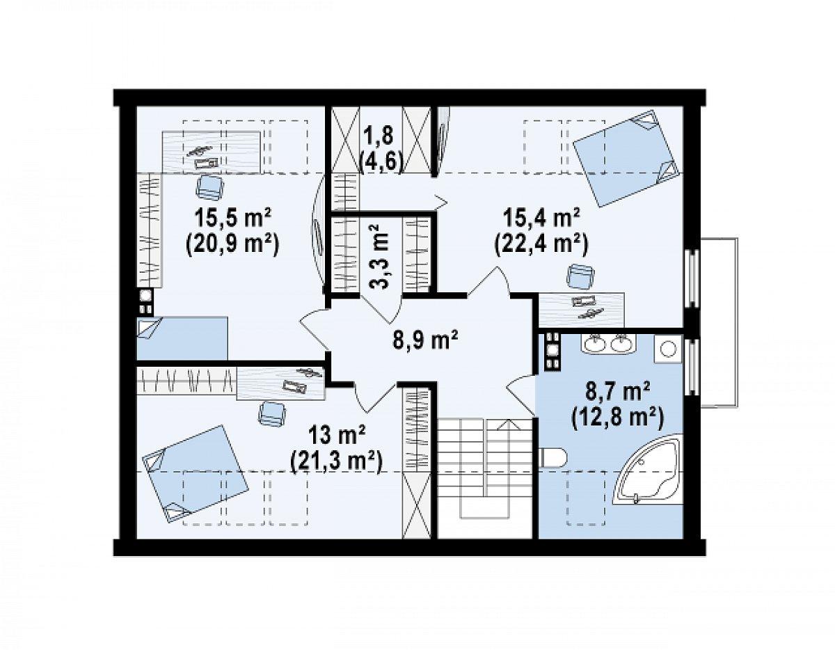 Второй этаж 66,8(94,2м²) дома Z237