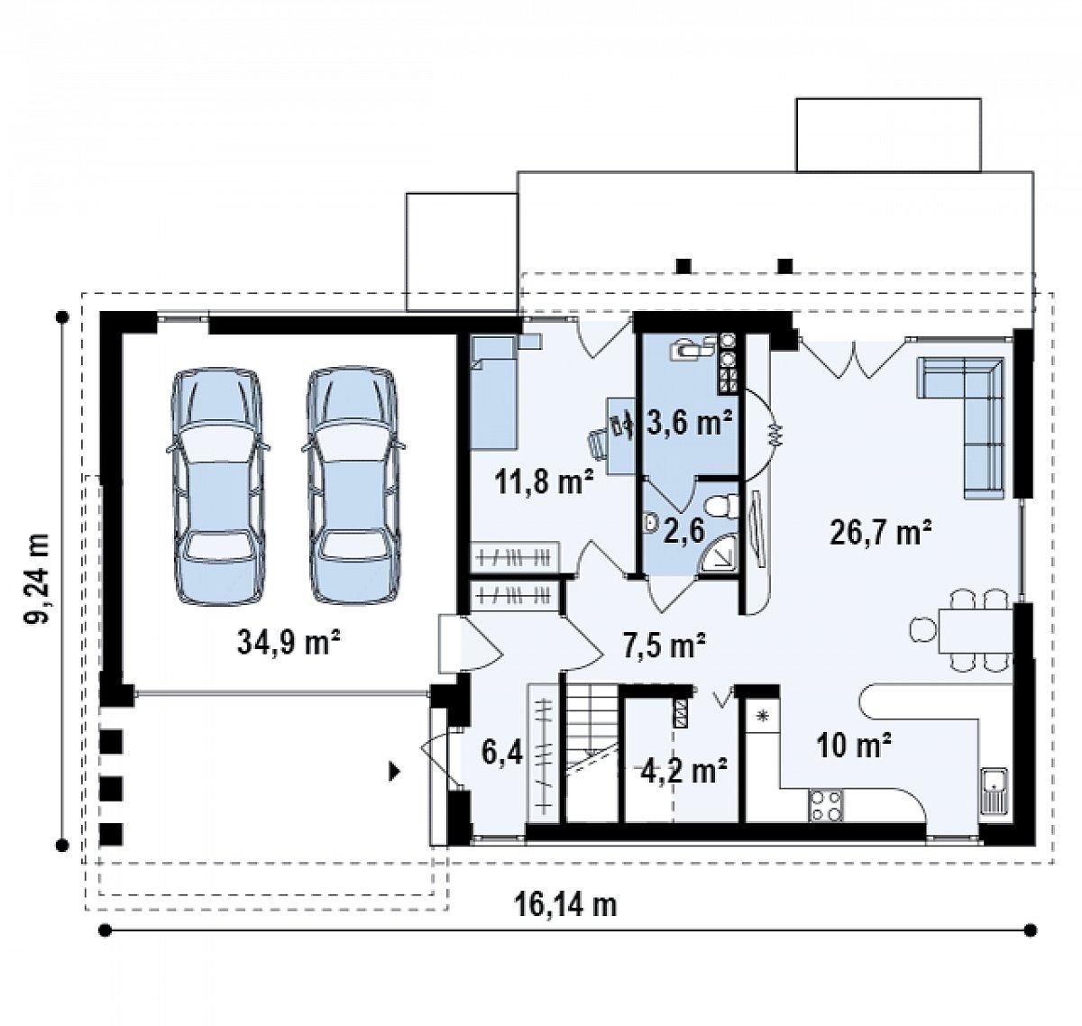 Первый этаж 72,9(107,7м²) дома Z238