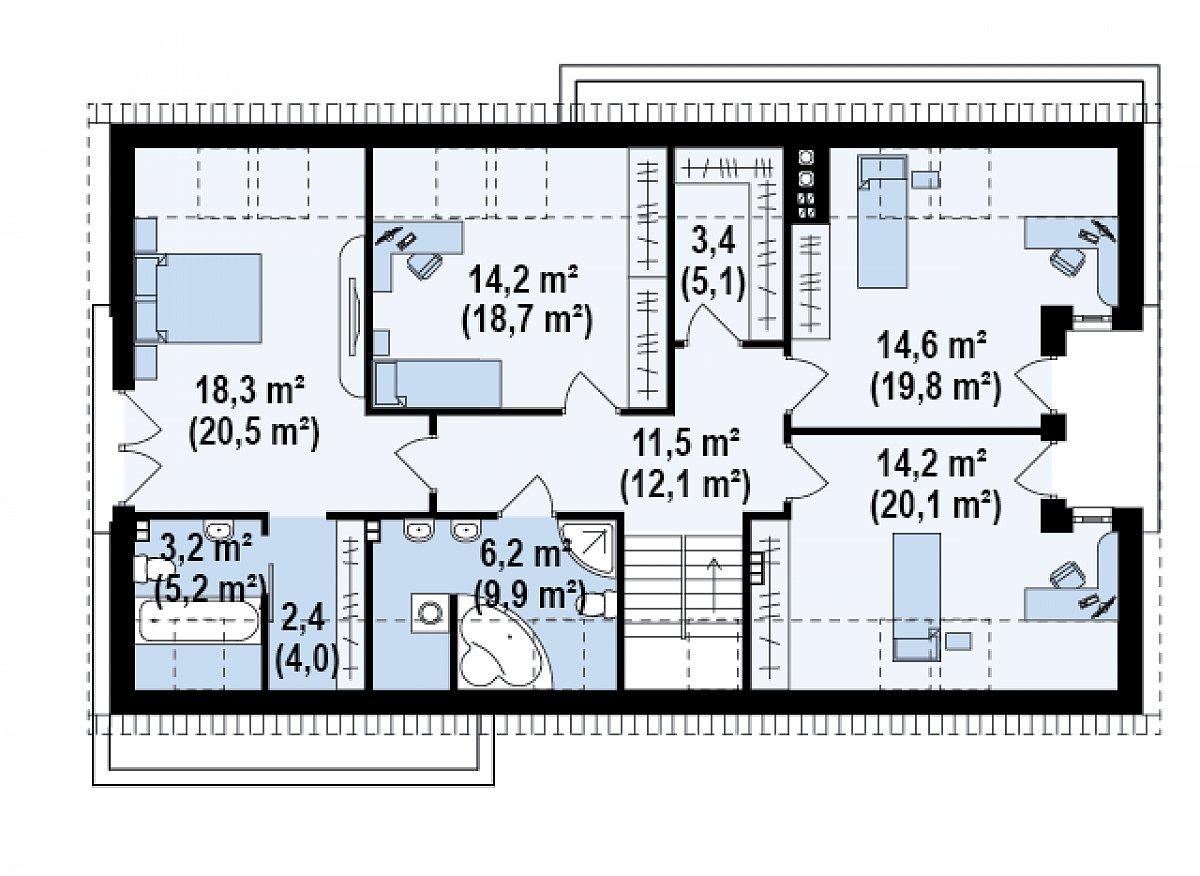 Второй этаж 87,3(115,4м²) дома Z238