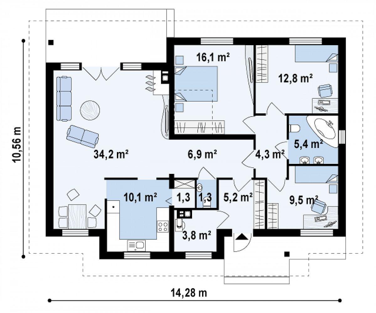 Первый этаж 110,9 м² дома Z23