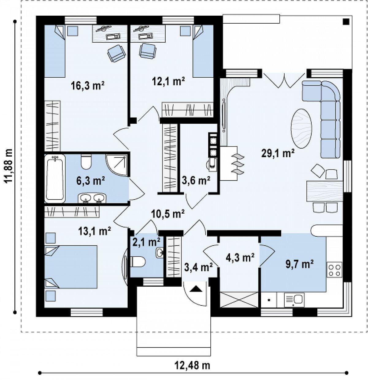 Первый этаж 110,6 м² дома Z24 k