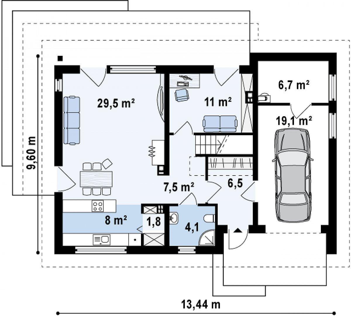Первый этаж 68,4(94,2м²) дома Z240