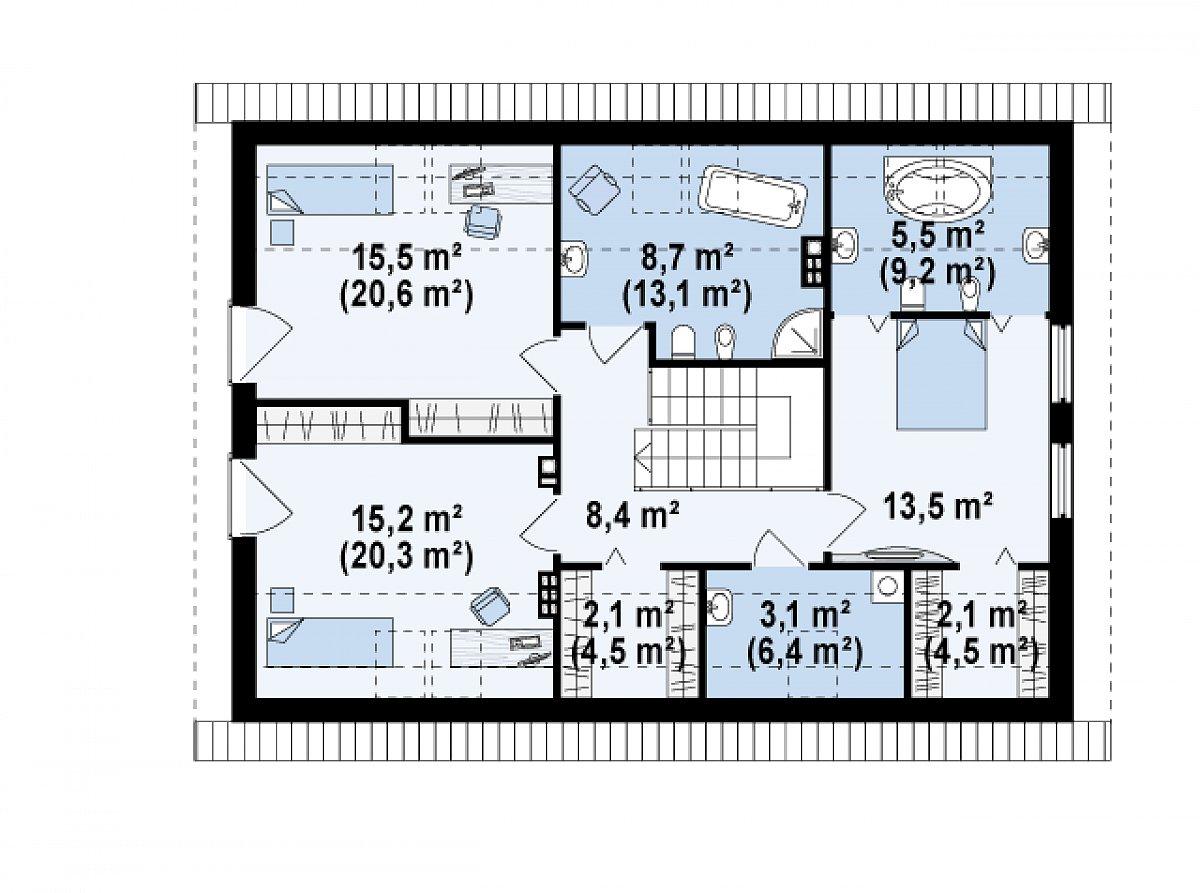 Второй этаж 74,1(100,5м²) дома Z240