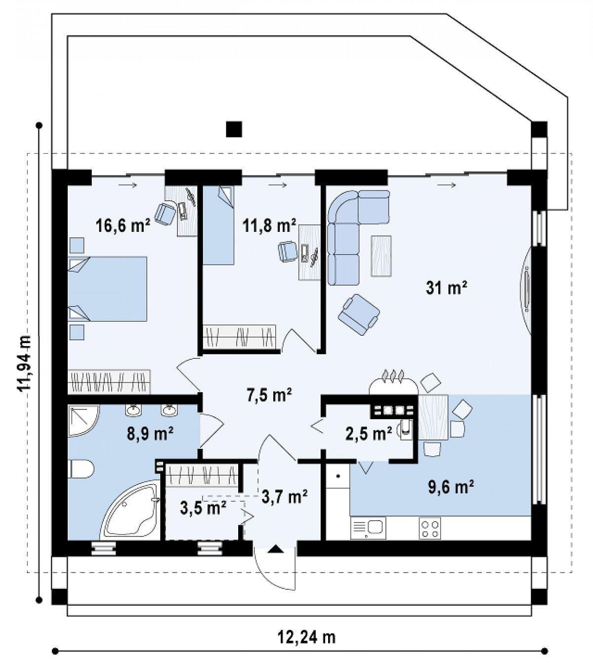 Первый этаж 95,1 м² дома Z242