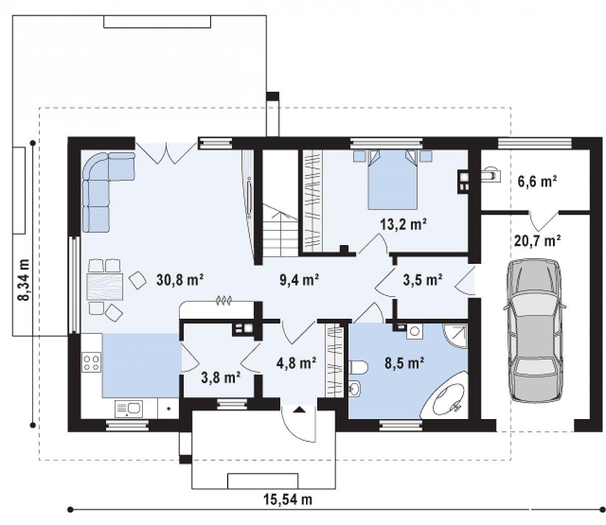 Первый этаж 74,0(101,3м²) дома Z244 GP