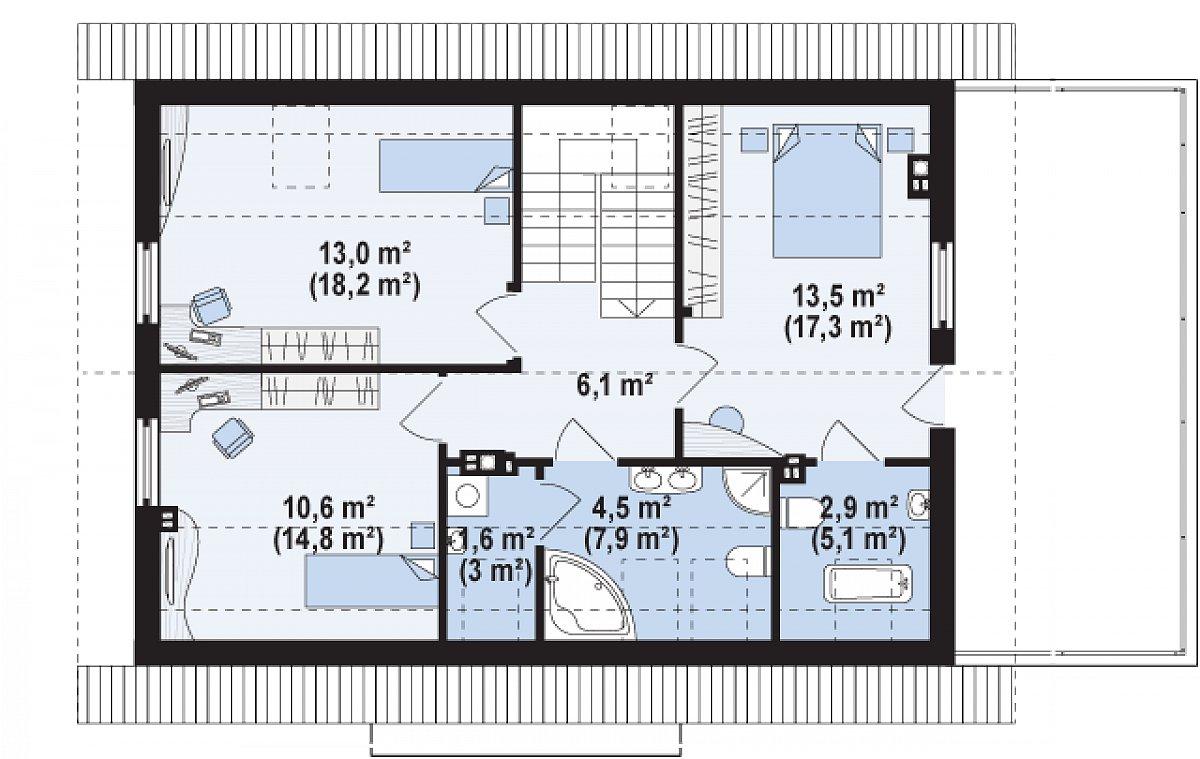 Второй этаж 52,4(72,3м²) дома Z244 GP