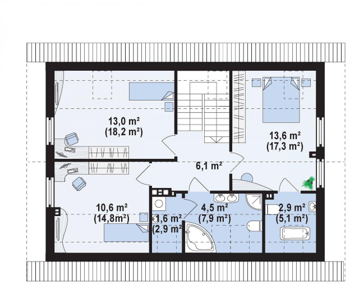 Второй этаж 52,4(72,3м²) дома Z244