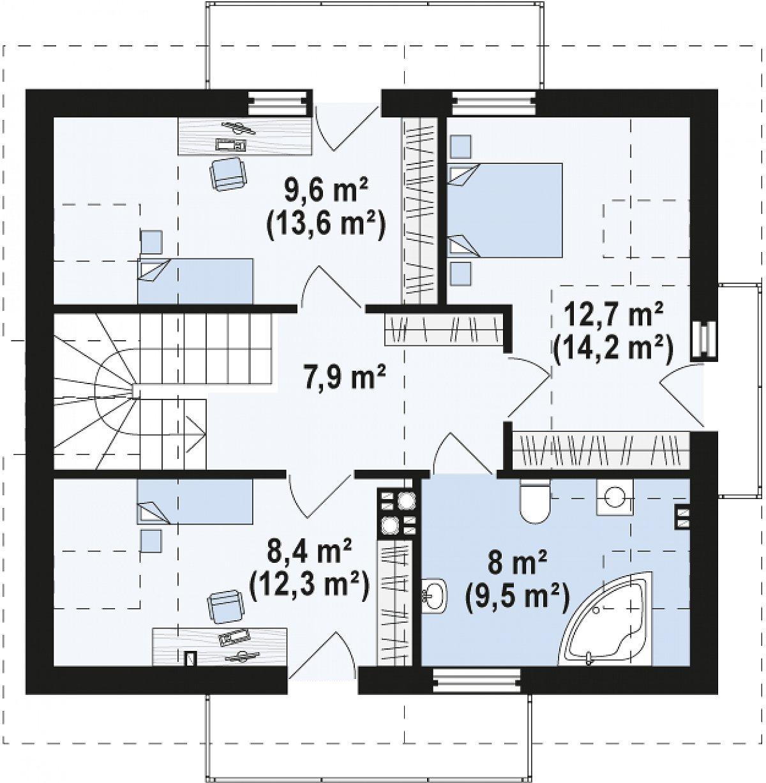 Второй этаж 46,6(57,6м²) дома Z245