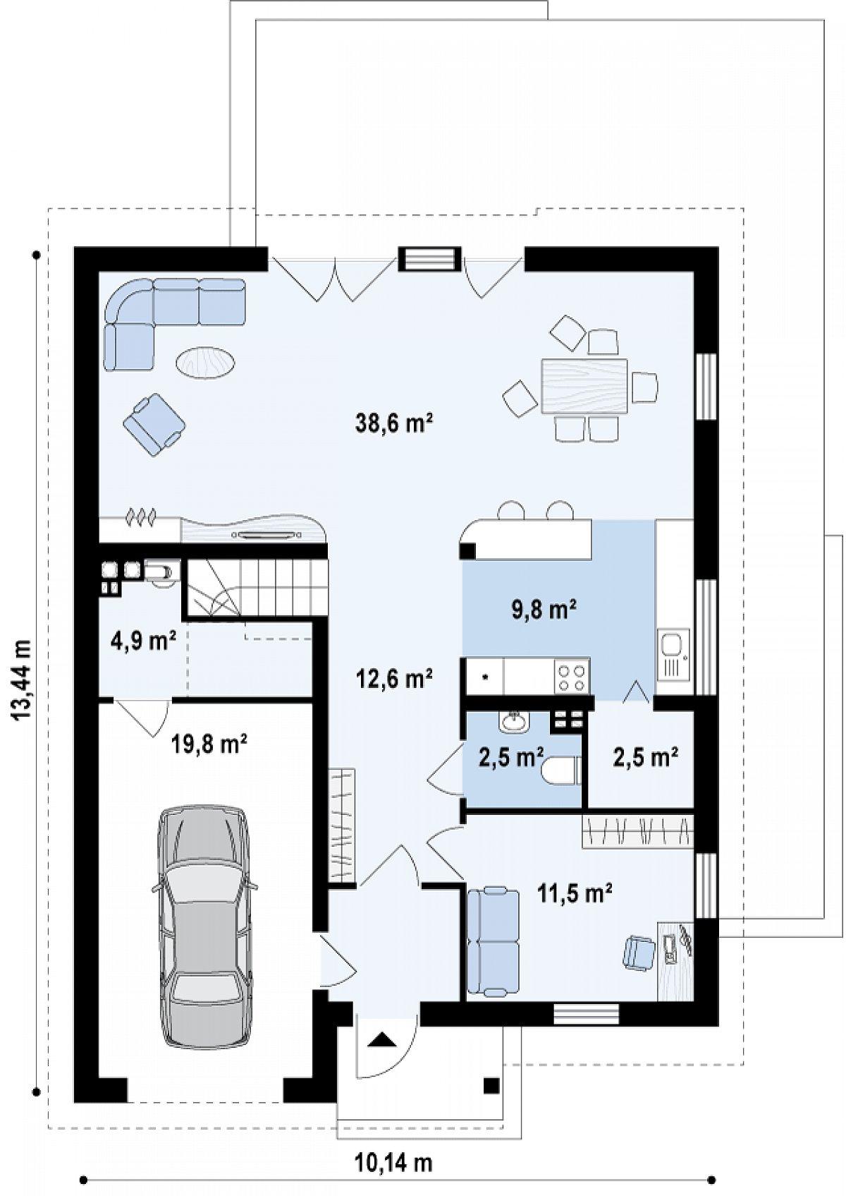 Первый этаж 80,1(104,7м²) дома Z246