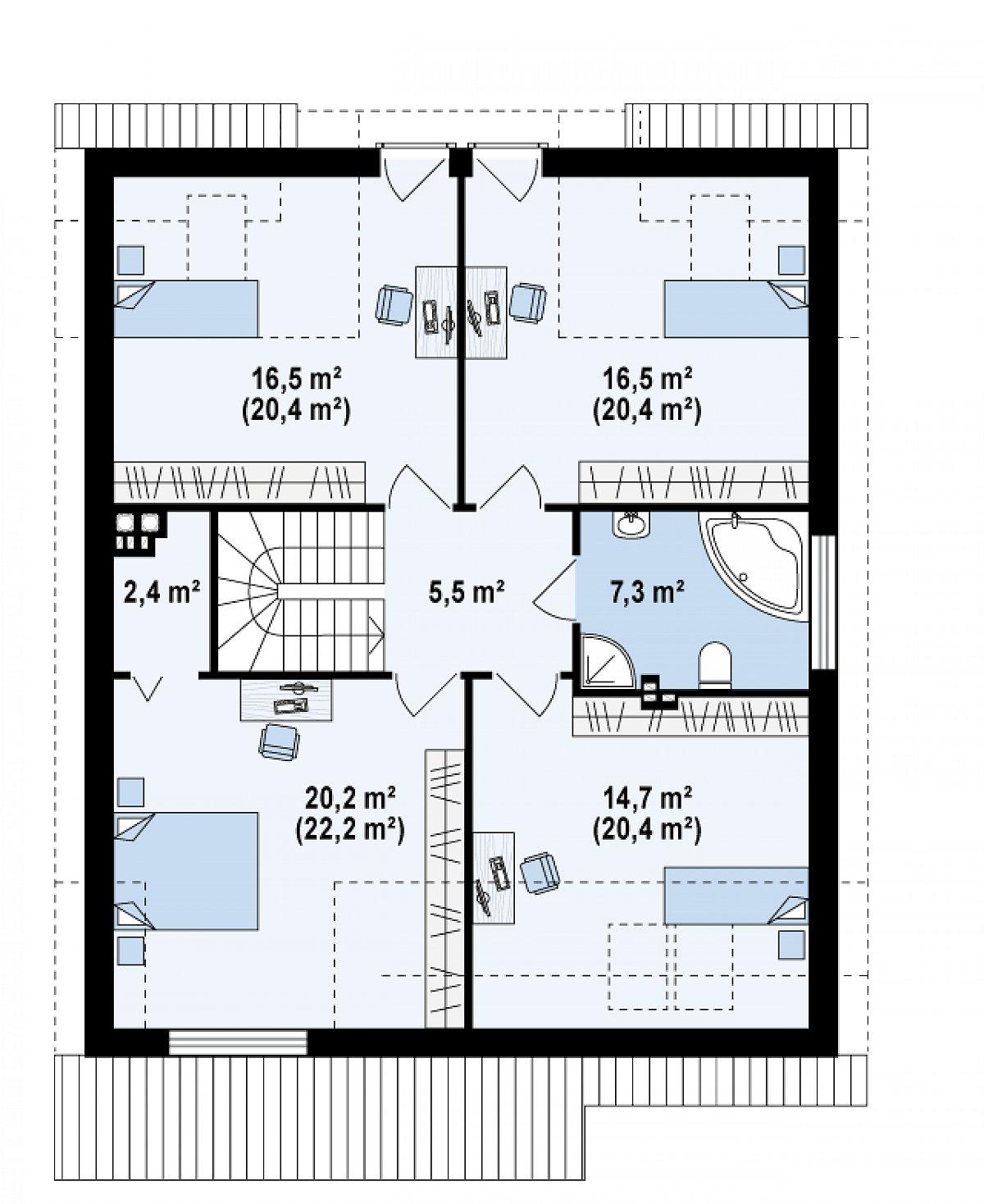 Второй этаж 83,1(98,6м²) дома Z246