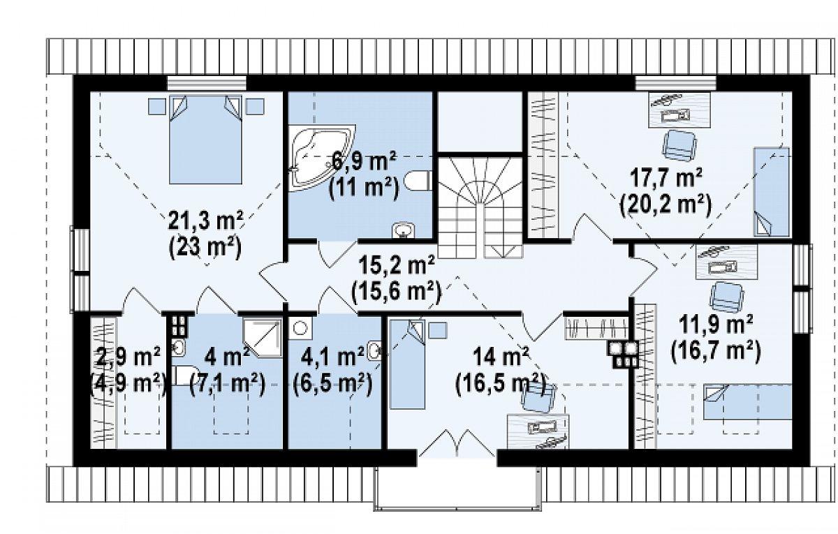 Второй этаж 97,9(121,5м²) дома Z247