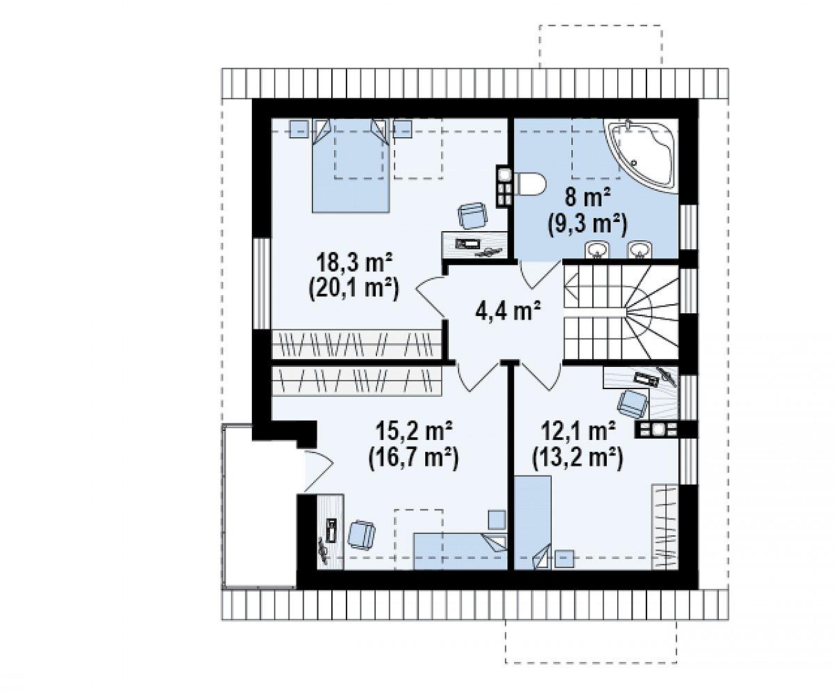 Второй этаж 58,1(63,8м²) дома Z248