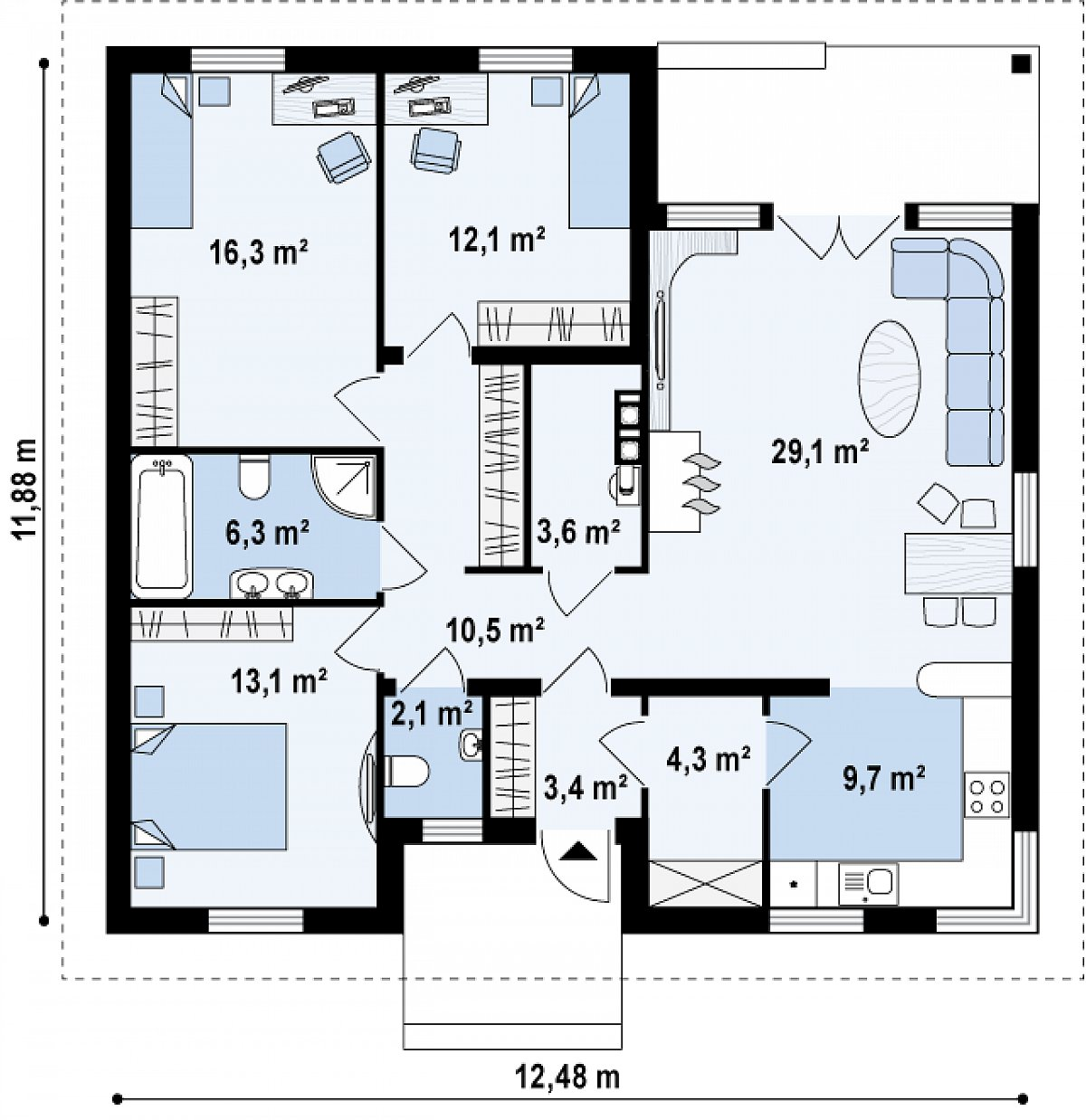Первый этаж 110,6 м² дома Z24