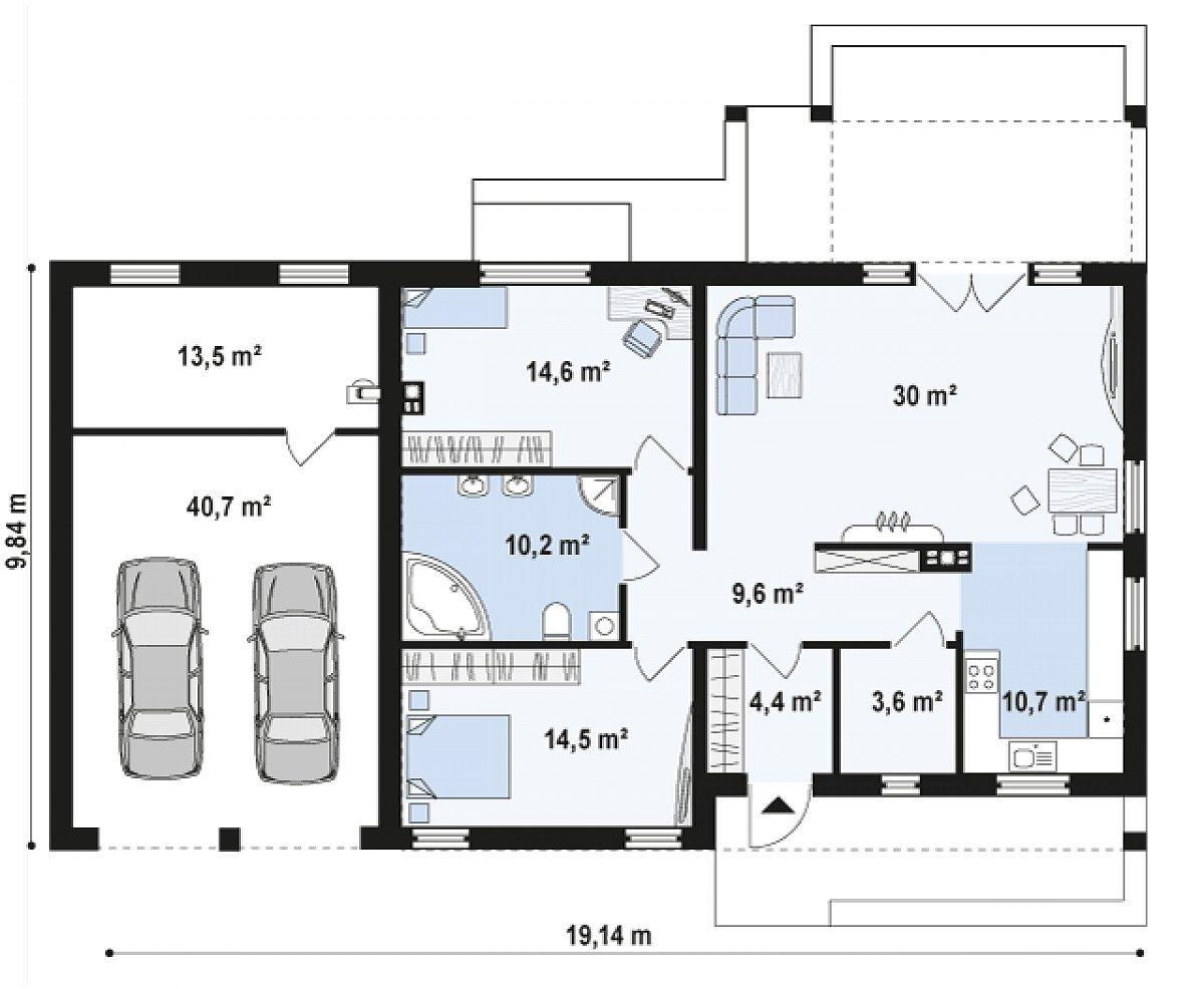 Первый этаж 97,5(151,7м²) дома Z251 GL2