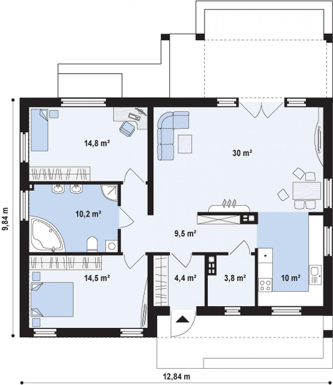 Первый этаж 97,1 м² дома Z251